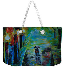 Weekender Tote Bag featuring the painting Romantic Stroll Series II by Leslie Allen