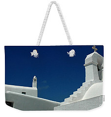 Rooftops Of Mykonos Weekender Tote Bag by Vivian Christopher