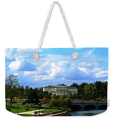 Weekender Tote Bag featuring the photograph Rose Garden And Hoyt Lake by Michael Frank Jr