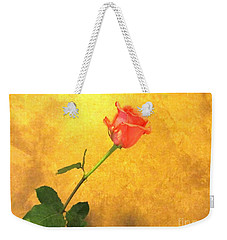 Rose On Leather Weekender Tote Bag