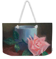 Weekender Tote Bag featuring the painting Rose With Blue Cup by Joe Winkler