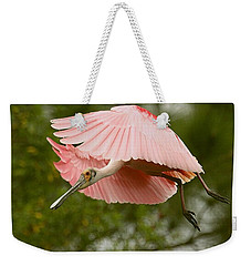 Roseate Spoonbill In Flight Weekender Tote Bag by Myrna Bradshaw