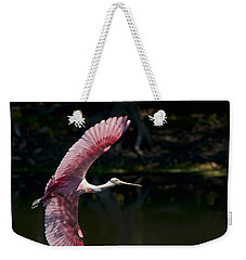 Weekender Tote Bag featuring the photograph Roseate Spoonbill by Steven Sparks