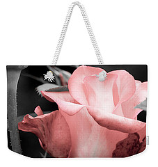 Roses In Pink And Gray Weekender Tote Bag by Michelle Joseph-Long