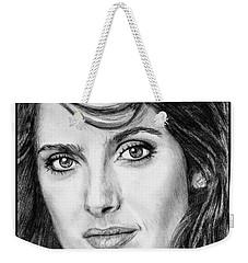 Weekender Tote Bag featuring the drawing Salma Hayek In 2005 by J McCombie