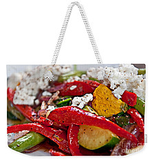 Weekender Tote Bag featuring the photograph Sauteed Vegetables With Feta Cheese Art Prints by Valerie Garner