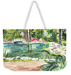 Weekender Tote Bag featuring the painting Sayen Pond by Clara Sue Beym