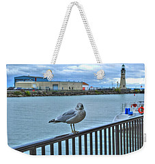 Weekender Tote Bag featuring the photograph Seagull At Lighthouse by Michael Frank Jr