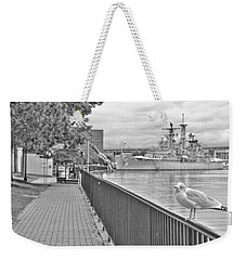 Weekender Tote Bag featuring the photograph Seagull At The Naval And Military Park by Michael Frank Jr