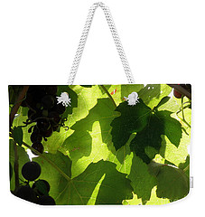 Weekender Tote Bag featuring the photograph Shadow Dancing Grapes by Lainie Wrightson