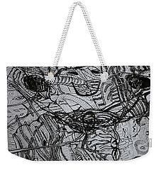Weekender Tote Bag featuring the drawing Shango by Gloria Ssali