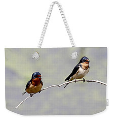 Weekender Tote Bag featuring the photograph Sharing A Branch by Elizabeth Winter