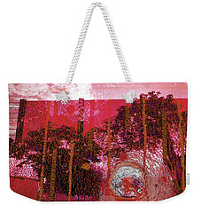 Weekender Tote Bag featuring the photograph Abstract Shattered Glass Red by Andy Prendy