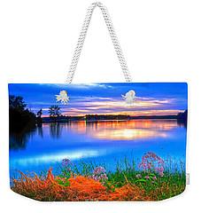 Weekender Tote Bag featuring the photograph Shoreline Sundown by Randall Branham
