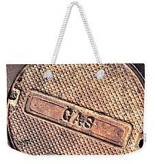 Sidewalk Gas Cover Weekender Tote Bag by Bill Owen