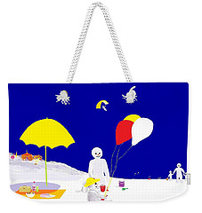 Weekender Tote Bag featuring the digital art Snowman Family Holiday by Barbara Moignard