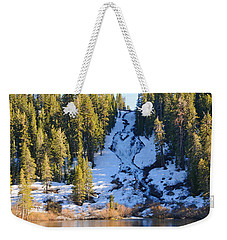 Weekender Tote Bag featuring the photograph Snowy Heart Falls by Lynn Bauer