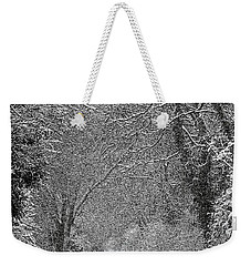 Weekender Tote Bag featuring the photograph Snowy Path by Linsey Williams