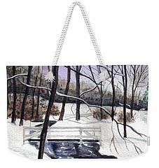 Snowy Shawnee Stream Weekender Tote Bag by Clara Sue Beym