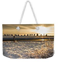 Snowy Sunrise Weekender Tote Bag