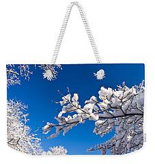 Snowy Trees And Blue Sky Weekender Tote Bag
