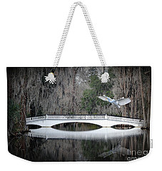 Weekender Tote Bag featuring the photograph Southern Plantation Flying Egret by Dan Friend