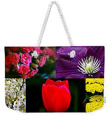 Weekender Tote Bag featuring the digital art Springtime Blooms Collage by Kay Novy