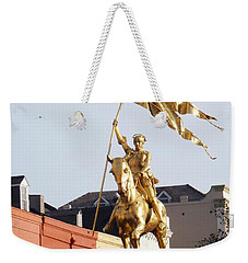 Weekender Tote Bag featuring the photograph St. Joan At Dawn by Alys Caviness-Gober