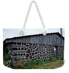 Weekender Tote Bag featuring the photograph Stacked Block Barn by Barbara McMahon
