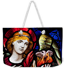 Stained Glass Angel Weekender Tote Bag by Verena Matthew