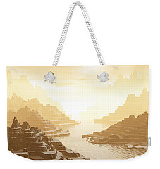 Weekender Tote Bag featuring the digital art Misted Mountain River Passage by Phil Perkins