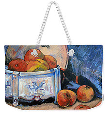 Weekender Tote Bag featuring the painting Still Life Peaches by Tom Roderick