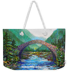 Weekender Tote Bag featuring the painting Stone Bridge by Lou Ann Bagnall