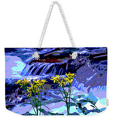 Weekender Tote Bag featuring the photograph Stream And Flowers by Zawhaus Photography