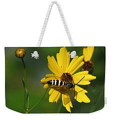 Striped Bee On Wildflower Weekender Tote Bag