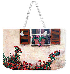 Weekender Tote Bag featuring the painting Studio Window by Tom Roderick