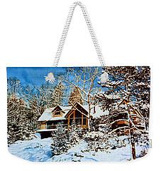 Weekender Tote Bag featuring the painting Summer House Portrait In Winter by Hanne Lore Koehler