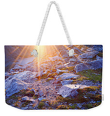 Weekender Tote Bag featuring the photograph Sunburst Over Abyss Lake by Jim Garrison