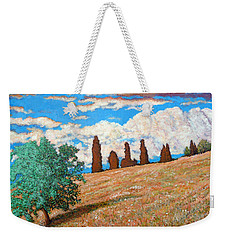 Weekender Tote Bag featuring the painting Sundown by Tom Roderick