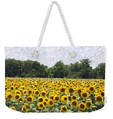 Weekender Tote Bag featuring the photograph Sunflower Field by Donna  Smith