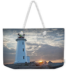 Sunrise At Peggys Cove Lighthouse In Nova Scotia Number 041 Weekender Tote Bag by Randall Nyhof