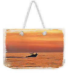 Weekender Tote Bag featuring the photograph Sunrise Boat Ride by Janie Johnson