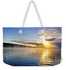 Sunrise On Foggy Lake Weekender Tote Bag