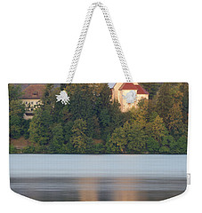 Sunrise Over Lake Bled And The Island Church Weekender Tote Bag