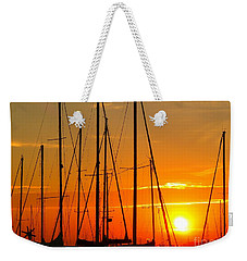 Sunset In A Harbour Digital Photo Painting Weekender Tote Bag