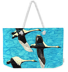 Swans In Flight Weekender Tote Bag