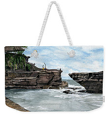 Weekender Tote Bag featuring the painting Tanah Lot Temple II Bali Indonesia by Melly Terpening