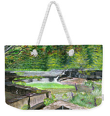 Weekender Tote Bag featuring the painting Taughannock Vista Ithaca New York by Melly Terpening