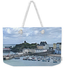 Weekender Tote Bag featuring the photograph Tenby Harbour Pembrokeshire Panorama by Steve Purnell