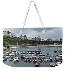 Weekender Tote Bag featuring the photograph Tenby Panorama by Steve Purnell